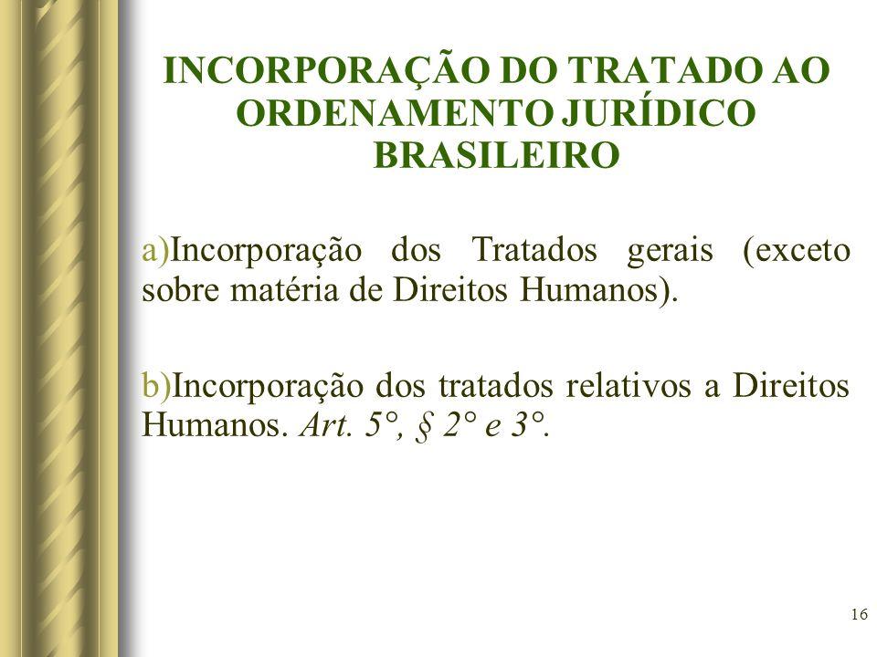 16 INCORPORAÇÃO DO TRATADO AO ORDENAMENTO JURÍDICO BRASILEIRO a)Incorporação dos Tratados gerais (exceto sobre matéria de Direitos Humanos). b)Incorpo