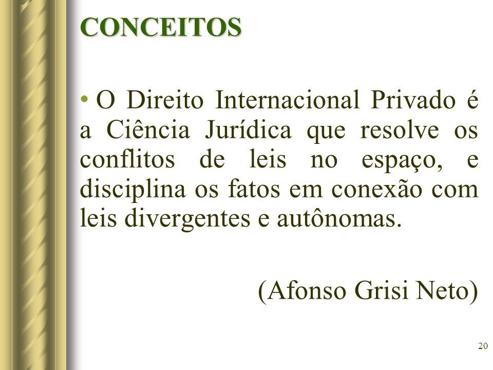 20 CONCEITOS O Direito Internacional Privado é a Ciência Jurídica que resolve os conflitos de leis no espaço, e disciplina os fatos em conexão com lei