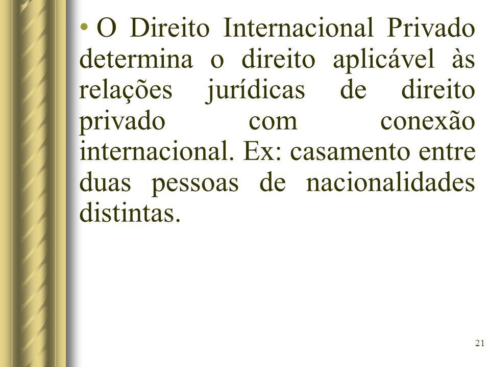 21 O Direito Internacional Privado determina o direito aplicável às relações jurídicas de direito privado com conexão internacional. Ex: casamento ent