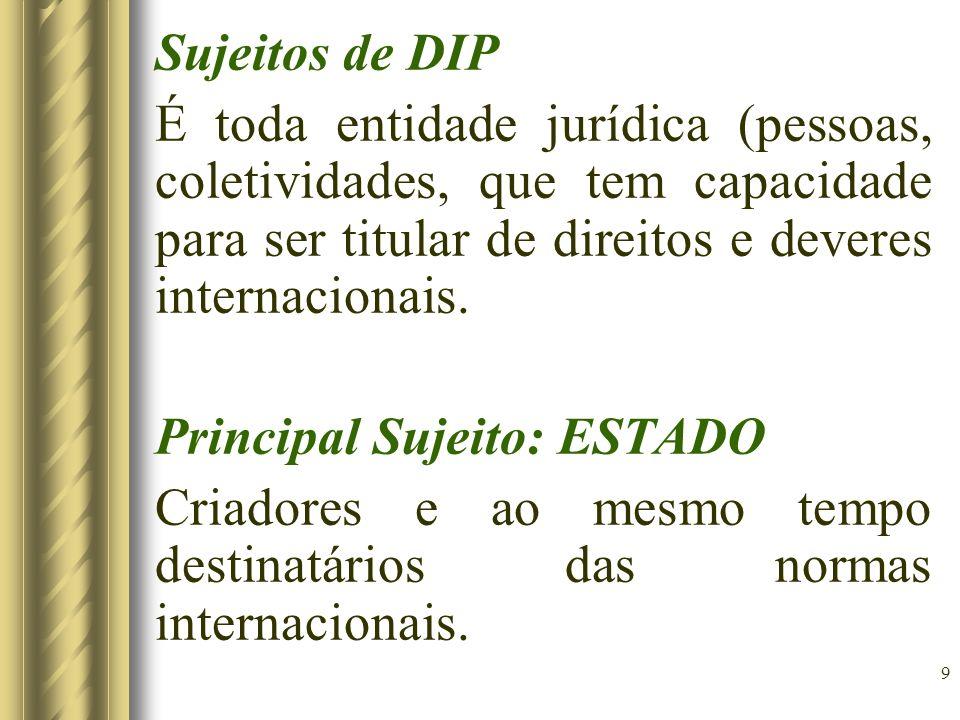 9 Sujeitos de DIP É toda entidade jurídica (pessoas, coletividades, que tem capacidade para ser titular de direitos e deveres internacionais. Principa