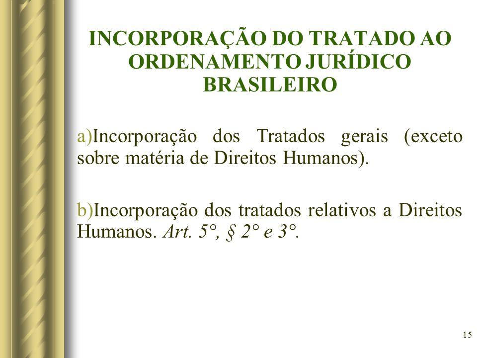 15 INCORPORAÇÃO DO TRATADO AO ORDENAMENTO JURÍDICO BRASILEIRO a)Incorporação dos Tratados gerais (exceto sobre matéria de Direitos Humanos). b)Incorpo