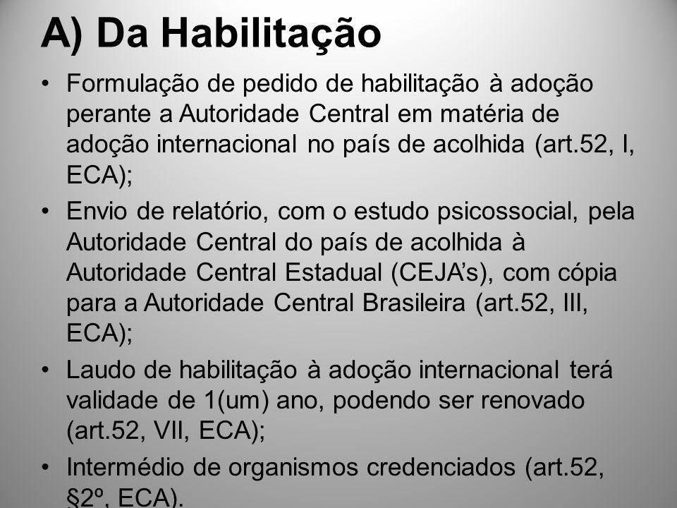 A) Da Habilitação Formulação de pedido de habilitação à adoção perante a Autoridade Central em matéria de adoção internacional no país de acolhida (ar