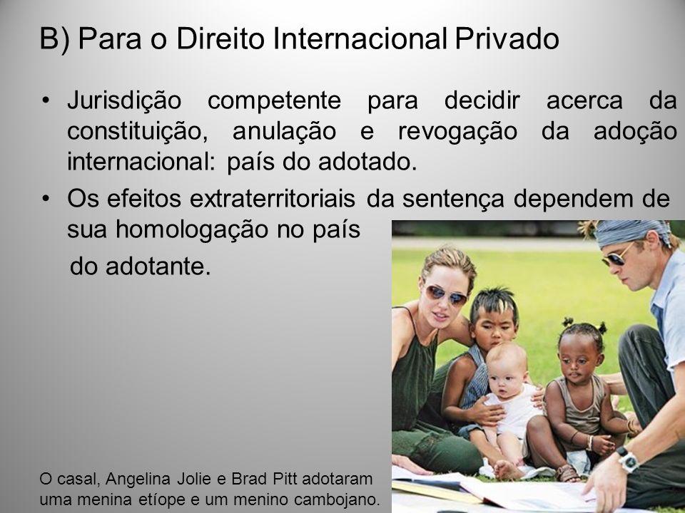 B) Para o Direito Internacional Privado Jurisdição competente para decidir acerca da constituição, anulação e revogação da adoção internacional: país