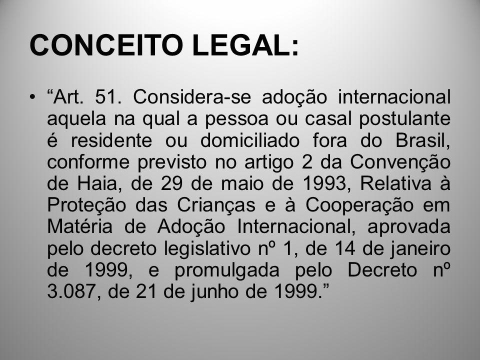 CONCEITO LEGAL: Art. 51. Considera-se adoção internacional aquela na qual a pessoa ou casal postulante é residente ou domiciliado fora do Brasil, conf