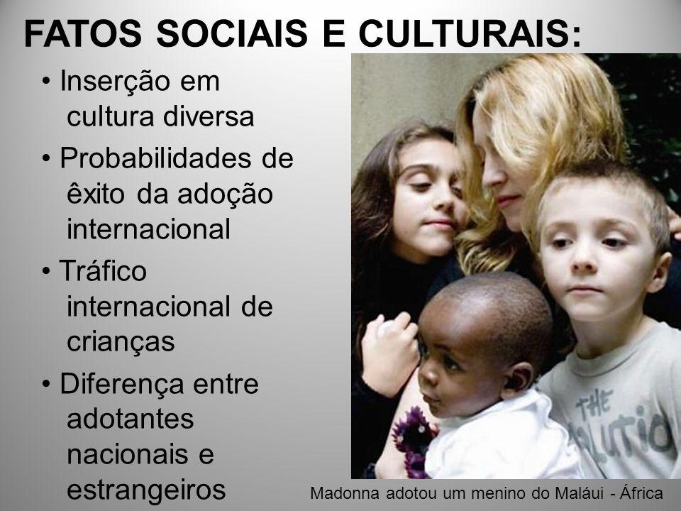 FATOS SOCIAIS E CULTURAIS: Inserção em cultura diversa Probabilidades de êxito da adoção internacional Tráfico internacional de crianças Diferença ent