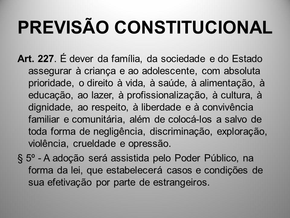 PREVISÃO CONSTITUCIONAL Art. 227. É dever da família, da sociedade e do Estado assegurar à criança e ao adolescente, com absoluta prioridade, o direit