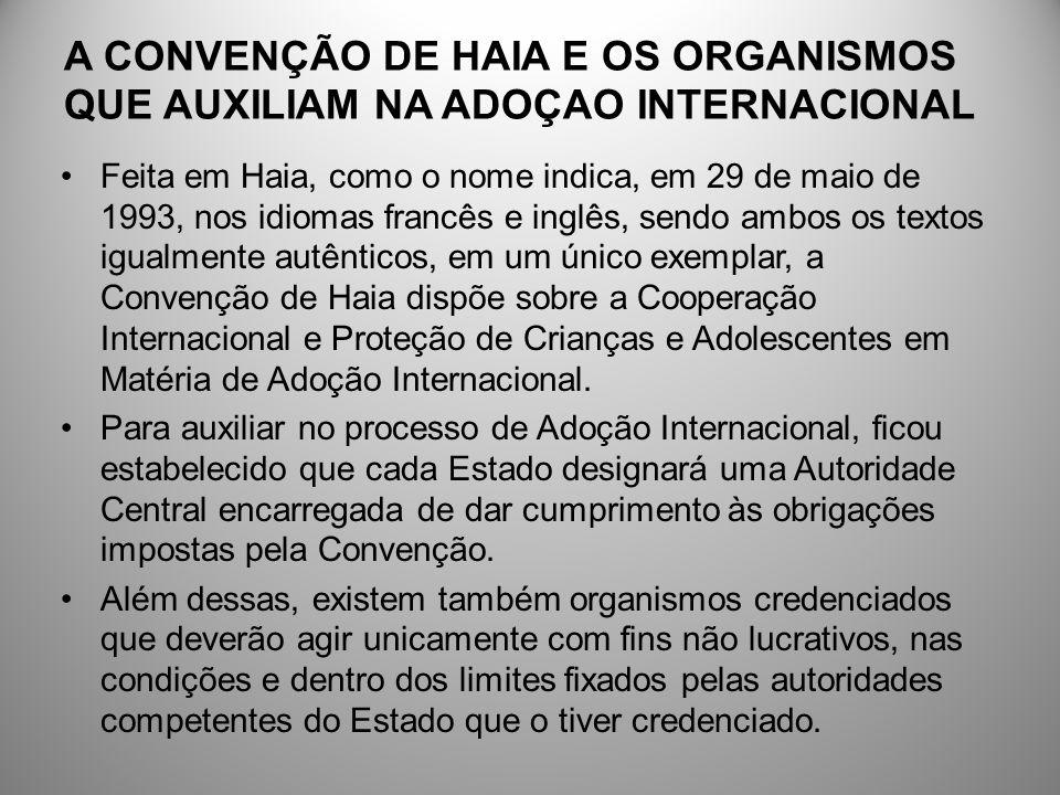 A CONVENÇÃO DE HAIA E OS ORGANISMOS QUE AUXILIAM NA ADOÇAO INTERNACIONAL Feita em Haia, como o nome indica, em 29 de maio de 1993, nos idiomas francês
