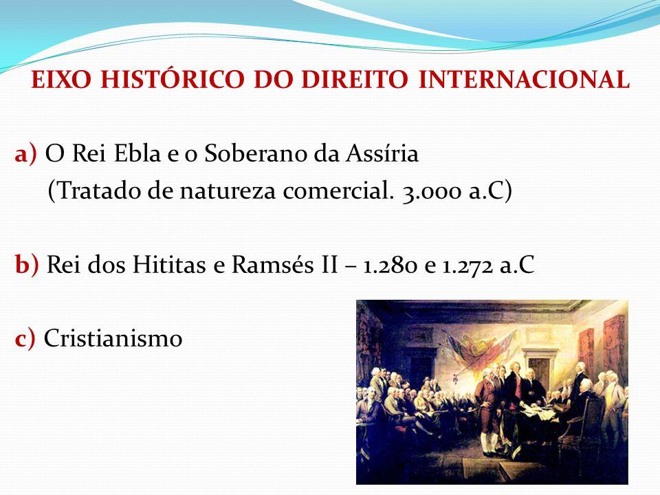 EIXO HISTÓRICO DO DIREITO INTERNACIONAL a) O Rei Ebla e o Soberano da Assíria (Tratado de natureza comercial. 3.000 a.C) b) Rei dos Hititas e Ramsés I