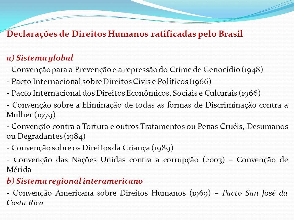 Declarações de Direitos Humanos ratificadas pelo Brasil a) Sistema global - Convenção para a Prevenção e a repressão do Crime de Genocídio (1948) - Pa