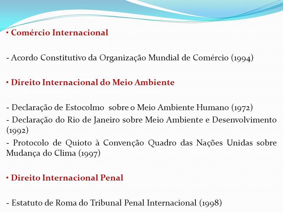 Comércio Internacional - Acordo Constitutivo da Organização Mundial de Comércio (1994) Direito Internacional do Meio Ambiente - Declaração de Estocolm