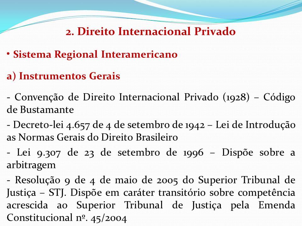 2. Direito Internacional Privado Sistema Regional Interamericano a) Instrumentos Gerais - Convenção de Direito Internacional Privado (1928) – Código d
