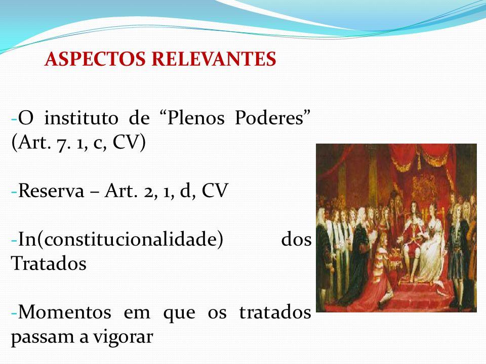 ASPECTOS RELEVANTES - O instituto de Plenos Poderes (Art. 7. 1, c, CV) - Reserva – Art. 2, 1, d, CV - In(constitucionalidade) dos Tratados - Momentos