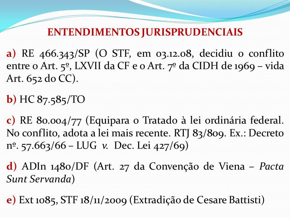 ENTENDIMENTOS JURISPRUDENCIAIS a) RE 466.343/SP (O STF, em 03.12.08, decidiu o conflito entre o Art. 5º, LXVII da CF e o Art. 7º da CIDH de 1969 – vid