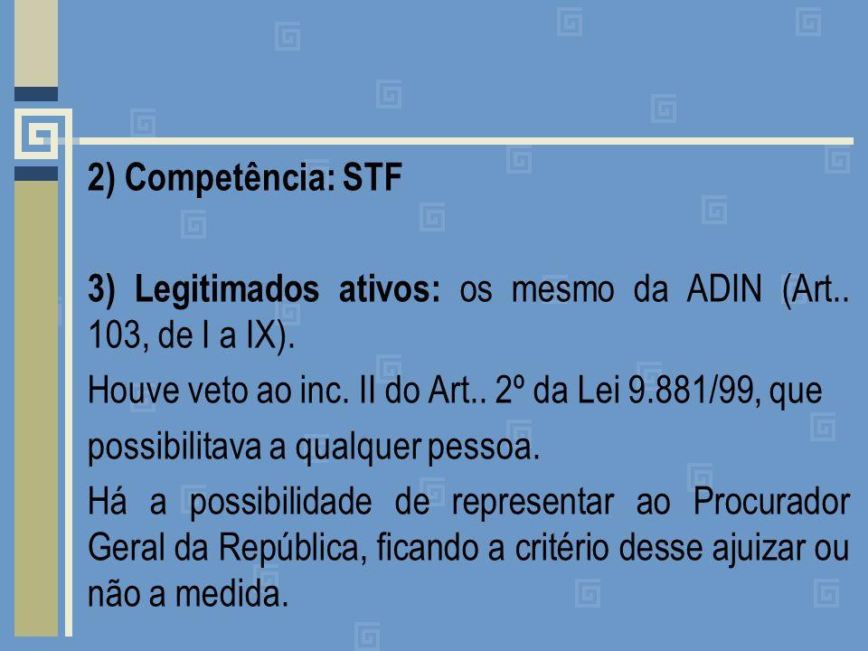 2) Competência: STF 3) Legitimados ativos: os mesmo da ADIN (Art..