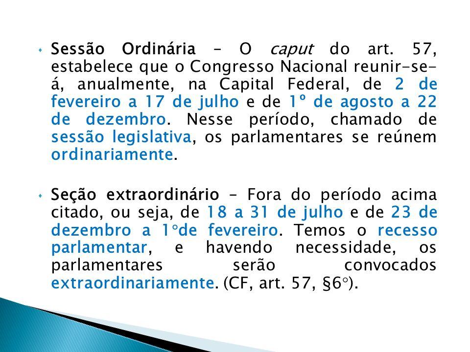 Sessão conjunta – Além de outros casos previstos nesta Constituição, a Câmara dos Deputados e o Senado Federal reunir-se-ão em sessão conjunta para: 1.