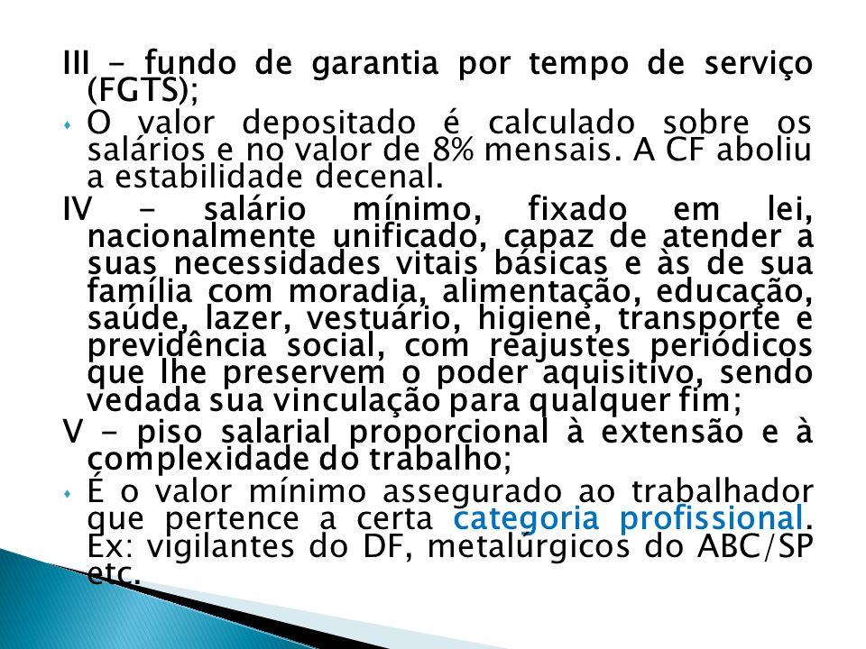 VI - irredutibilidade do salário, salvo o disposto em convenção ou acordo coletivo; Em regra, o salário não pode ser reduzido.