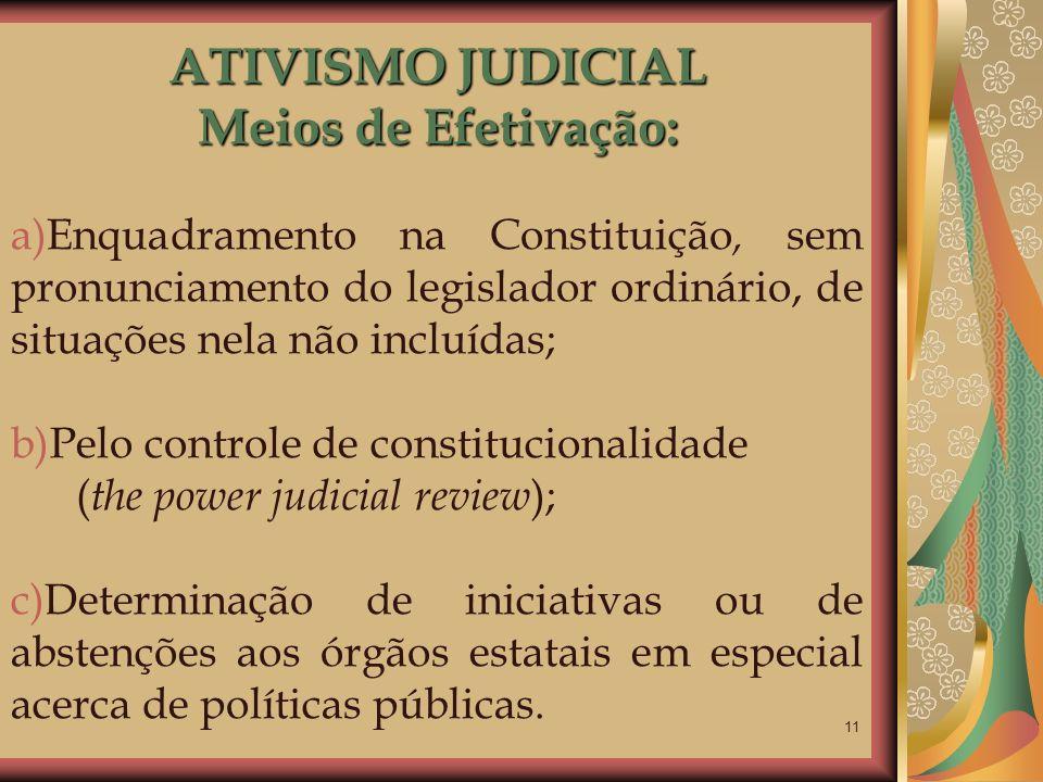 11 ATIVISMO JUDICIAL Meios de Efetivação: a)Enquadramento na Constituição, sem pronunciamento do legislador ordinário, de situações nela não incluídas