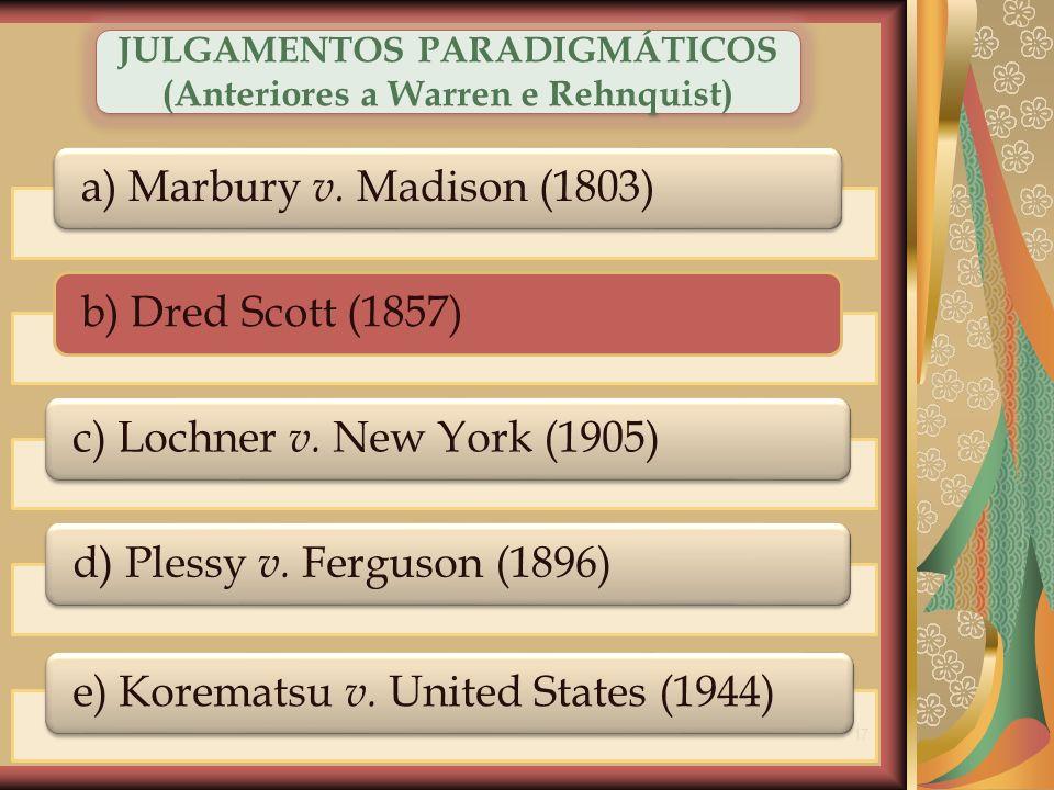 17 a) Marbury v. Madison (1803)b) Dred Scott (1857)c) Lochner v. New York (1905)d) Plessy v. Ferguson (1896)e) Korematsu v. United States (1944) JULGA