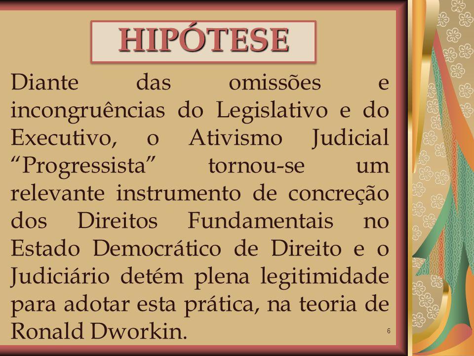 6 HIPÓTESEHIPÓTESE Diante das omissões e incongruências do Legislativo e do Executivo, o Ativismo Judicial Progressista tornou-se um relevante instrum
