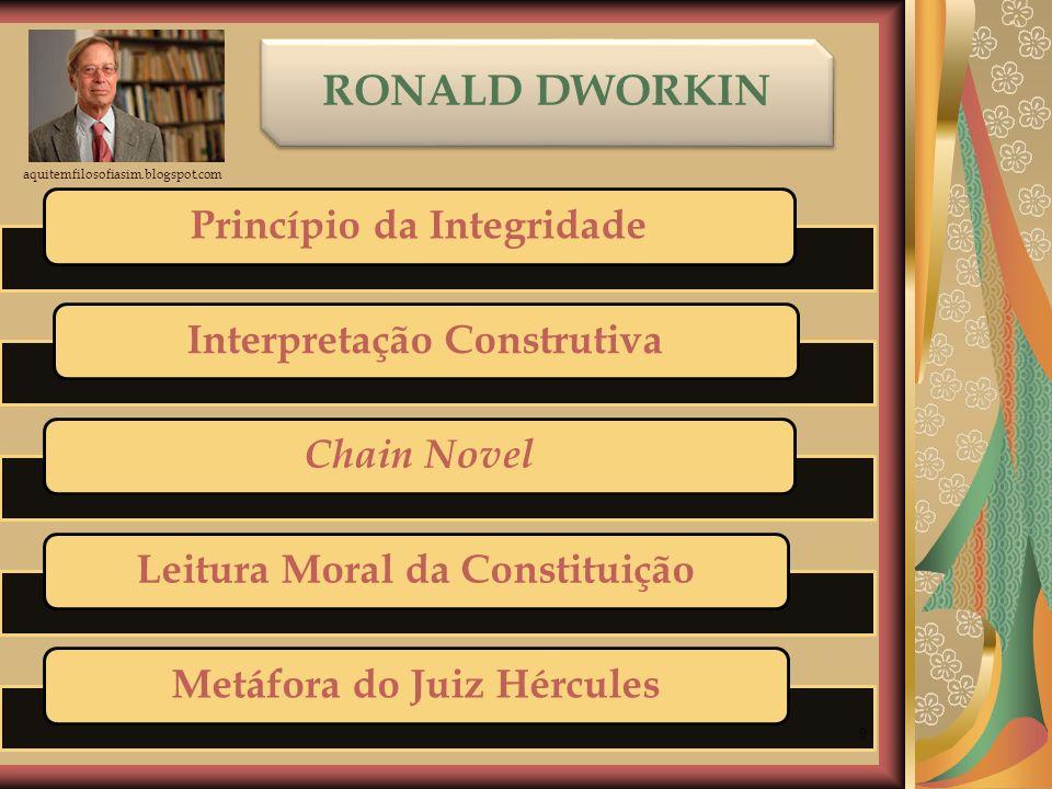 9 RONALD DWORKIN Princípio da Integridade Interpretação Construtiva Chain Novel Leitura Moral da ConstituiçãoMetáfora do Juiz Hércules aquitemfilosofi