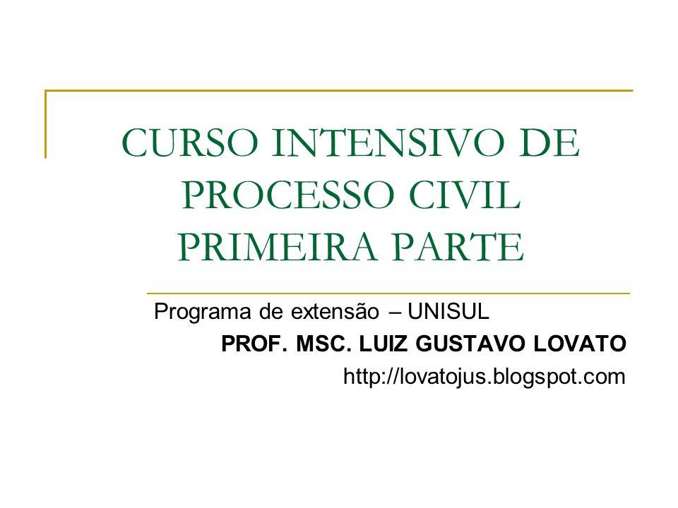 CURSO INTENSIVO DE PROCESSO CIVIL PRIMEIRA PARTE Programa de extensão – UNISUL PROF. MSC. LUIZ GUSTAVO LOVATO http://lovatojus.blogspot.com