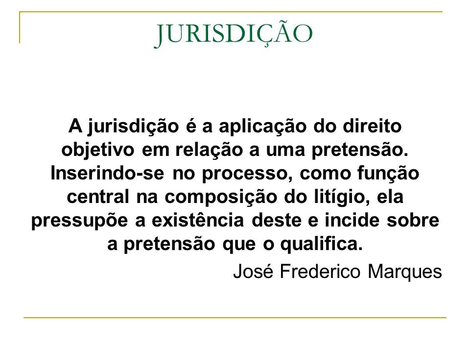 JURISDIÇÃO A jurisdição é a aplicação do direito objetivo em relação a uma pretensão. Inserindo-se no processo, como função central na composição do l