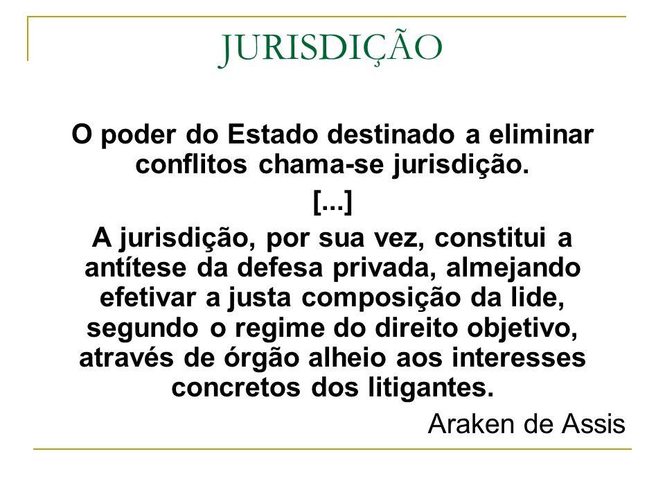 JURISDIÇÃO O poder do Estado destinado a eliminar conflitos chama-se jurisdição. [...] A jurisdição, por sua vez, constitui a antítese da defesa priva
