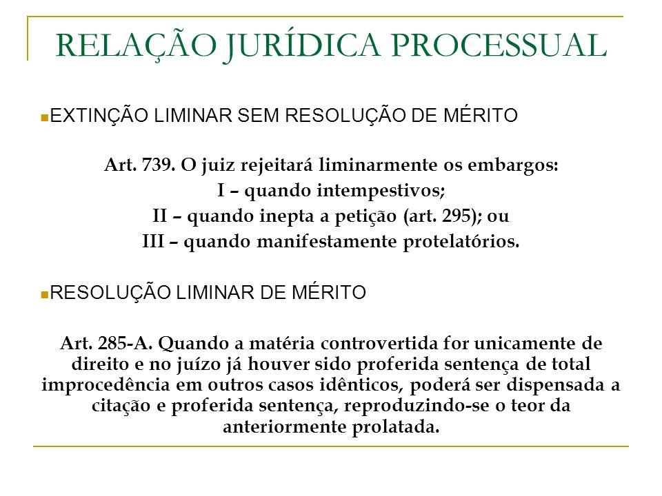 RELAÇÃO JURÍDICA PROCESSUAL EXTINÇÃO LIMINAR SEM RESOLUÇÃO DE MÉRITO Art. 739. O juiz rejeitará liminarmente os embargos: I – quando intempestivos; II