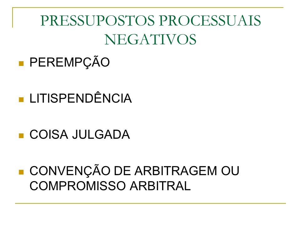 PRESSUPOSTOS PROCESSUAIS NEGATIVOS PEREMPÇÃO LITISPENDÊNCIA COISA JULGADA CONVENÇÃO DE ARBITRAGEM OU COMPROMISSO ARBITRAL