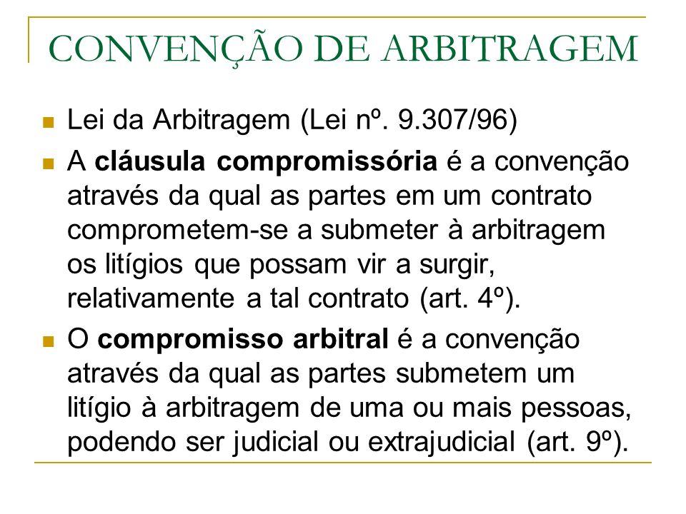 CONVENÇÃO DE ARBITRAGEM Lei da Arbitragem (Lei nº. 9.307/96) A cláusula compromissória é a convenção através da qual as partes em um contrato comprome