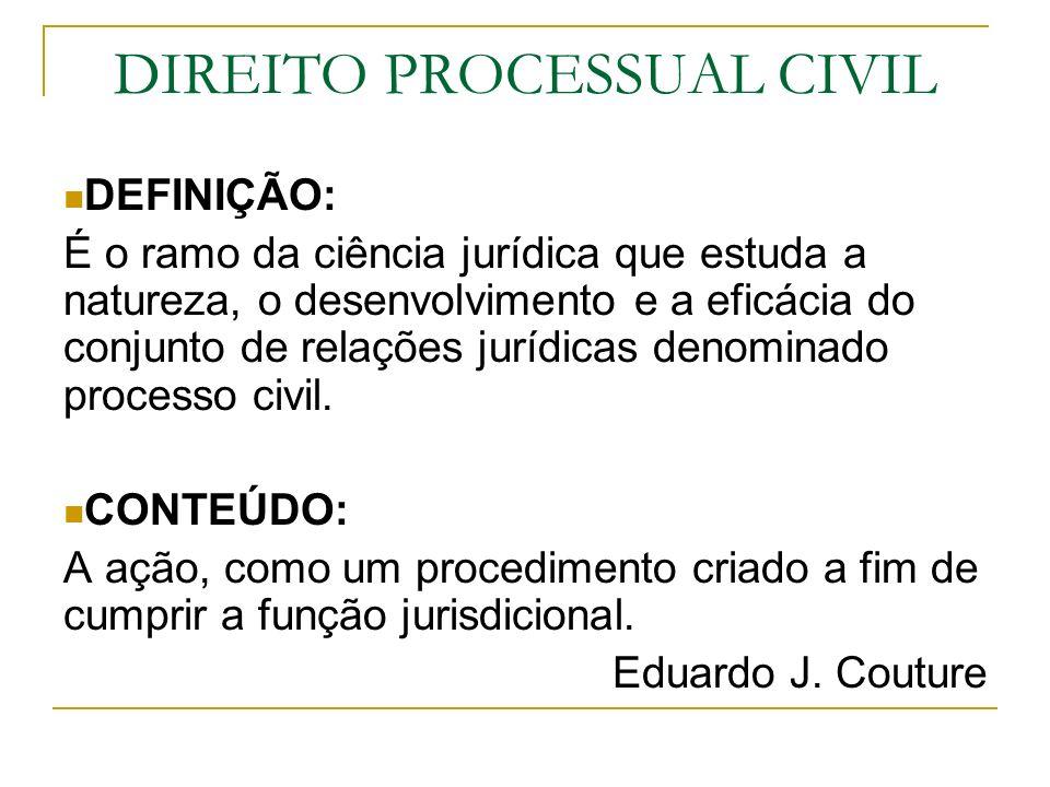 DIREITO PROCESSUAL CIVIL DEFINIÇÃO: É o ramo da ciência jurídica que estuda a natureza, o desenvolvimento e a eficácia do conjunto de relações jurídic