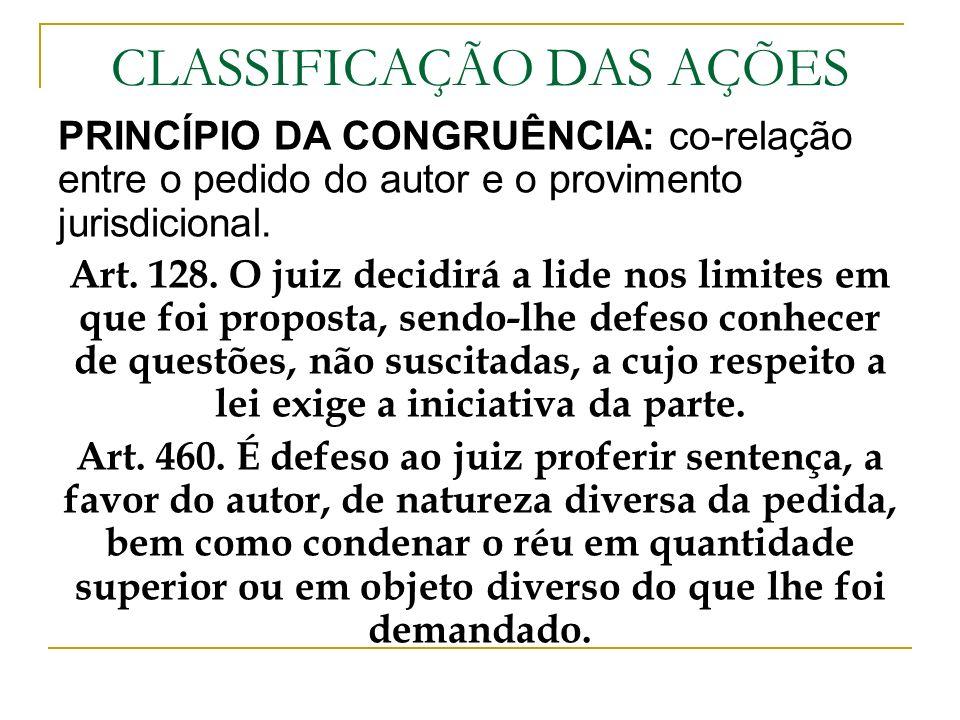CLASSIFICAÇÃO DAS AÇÕES PRINCÍPIO DA CONGRUÊNCIA: co-relação entre o pedido do autor e o provimento jurisdicional. Art. 128. O juiz decidirá a lide no