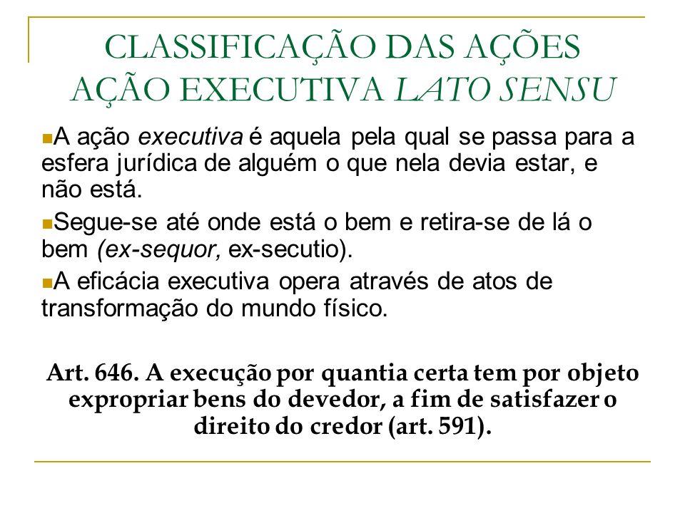 CLASSIFICAÇÃO DAS AÇÕES AÇÃO EXECUTIVA LATO SENSU A ação executiva é aquela pela qual se passa para a esfera jurídica de alguém o que nela devia estar