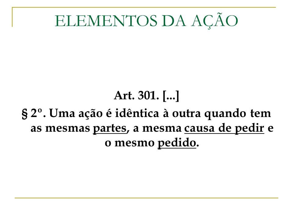 ELEMENTOS DA AÇÃO Art. 301. [...] § 2º. Uma ação é idêntica à outra quando tem as mesmas partes, a mesma causa de pedir e o mesmo pedido.
