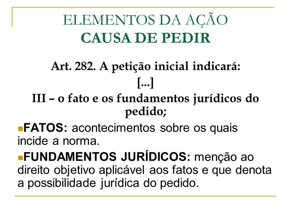 ELEMENTOS DA AÇÃO CAUSA DE PEDIR Art. 282. A petição inicial indicará: [...] III – o fato e os fundamentos jurídicos do pedido; FATOS: acontecimentos