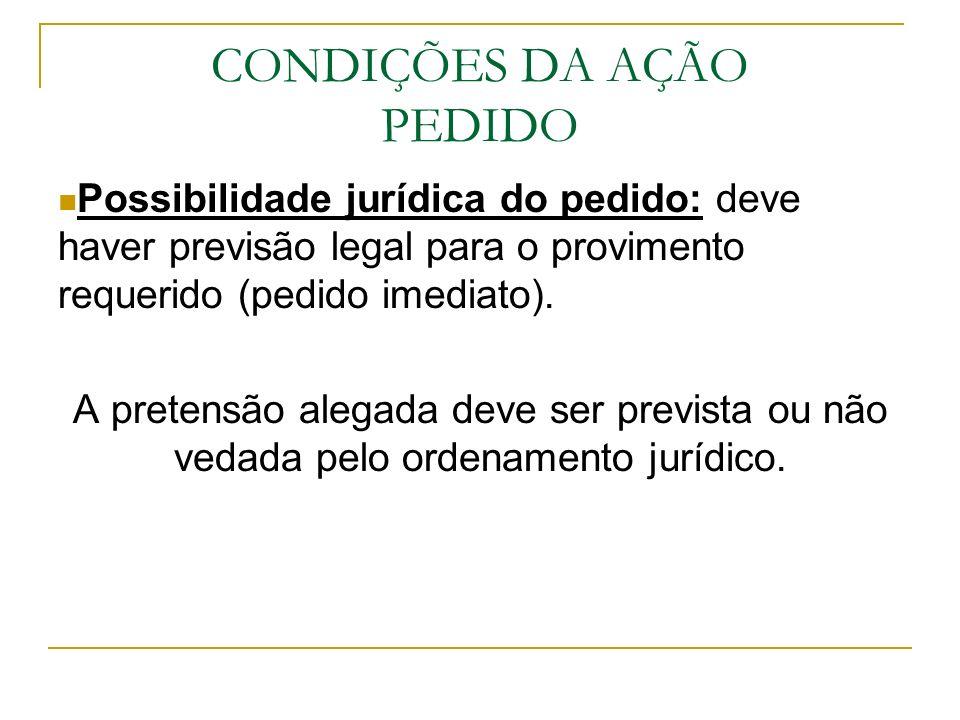 CONDIÇÕES DA AÇÃO PEDIDO Possibilidade jurídica do pedido: deve haver previsão legal para o provimento requerido (pedido imediato). A pretensão alegad
