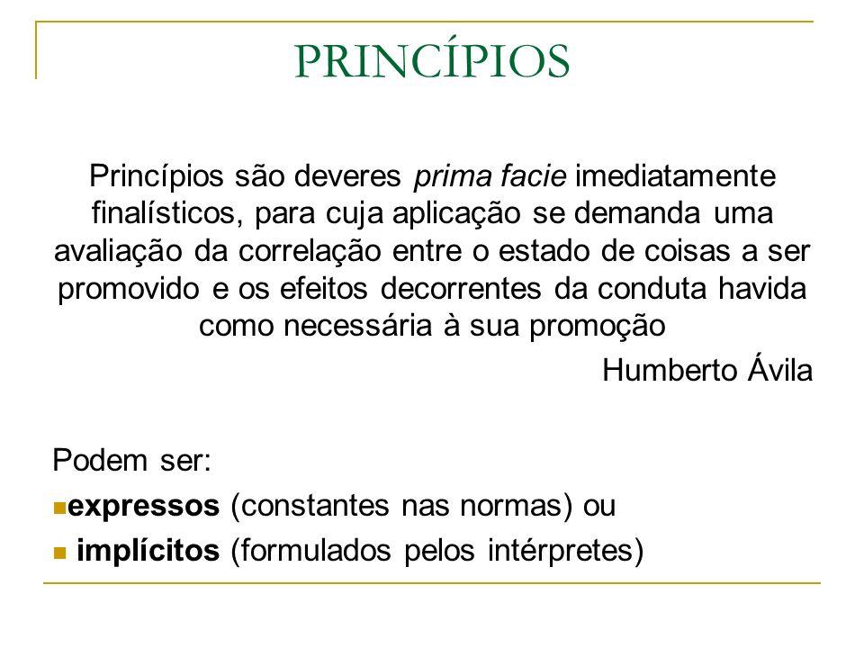 PRINCÍPIOS Princípios são deveres prima facie imediatamente finalísticos, para cuja aplicação se demanda uma avaliação da correlação entre o estado de