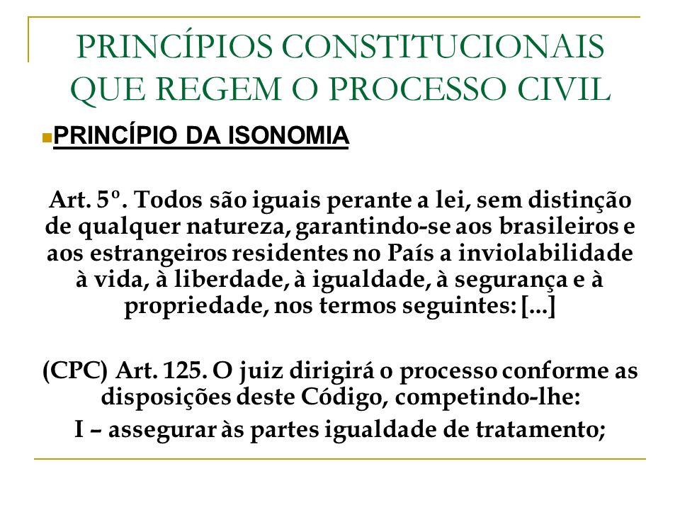 PRINCÍPIOS CONSTITUCIONAIS QUE REGEM O PROCESSO CIVIL PRINCÍPIO DA ISONOMIA Art. 5º. Todos são iguais perante a lei, sem distinção de qualquer naturez