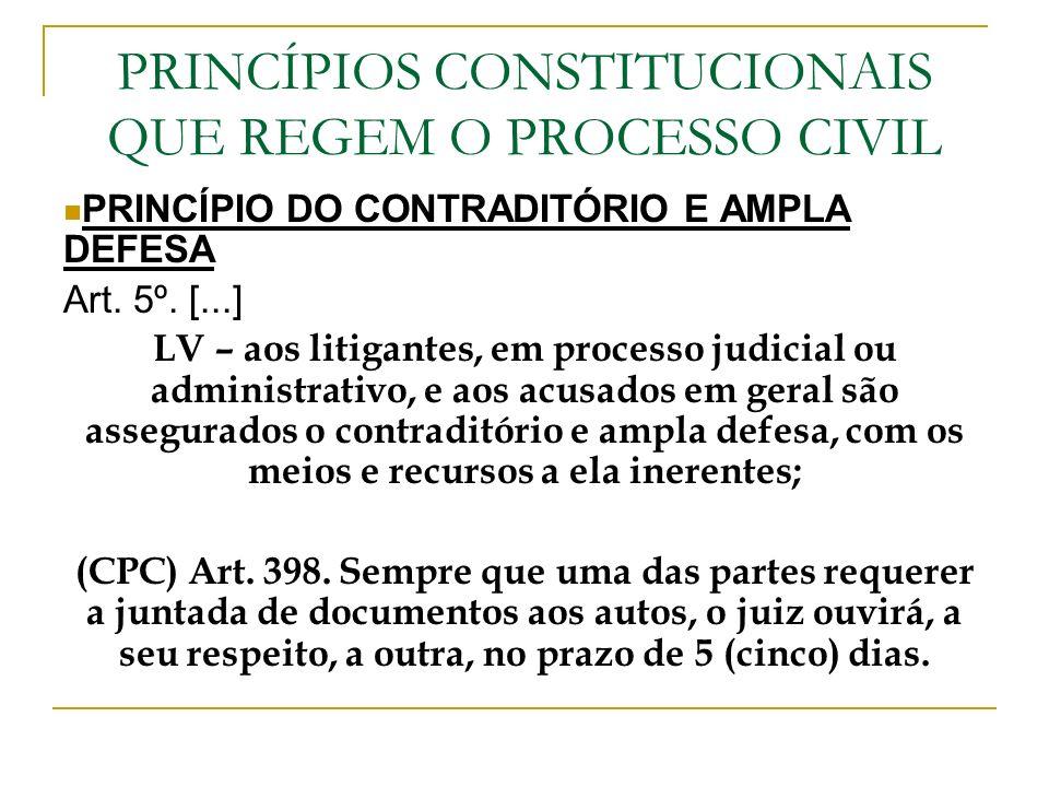 PRINCÍPIOS CONSTITUCIONAIS QUE REGEM O PROCESSO CIVIL PRINCÍPIO DO CONTRADITÓRIO E AMPLA DEFESA Art. 5º. [...] LV – aos litigantes, em processo judici