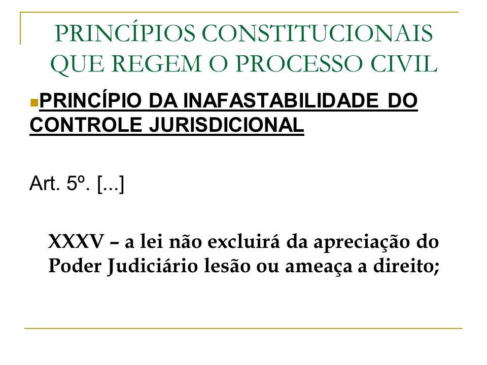 PRINCÍPIOS CONSTITUCIONAIS QUE REGEM O PROCESSO CIVIL PRINCÍPIO DA INAFASTABILIDADE DO CONTROLE JURISDICIONAL Art. 5º. [...] XXXV – a lei não excluirá