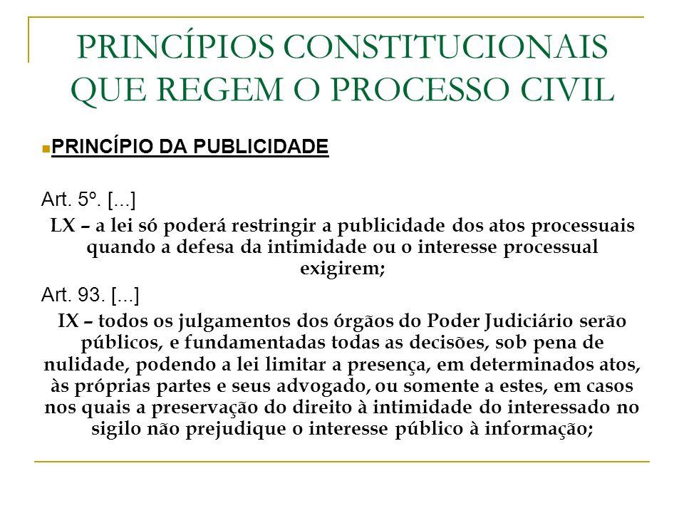 PRINCÍPIOS CONSTITUCIONAIS QUE REGEM O PROCESSO CIVIL PRINCÍPIO DA PUBLICIDADE Art. 5º. [...] LX – a lei só poderá restringir a publicidade dos atos p