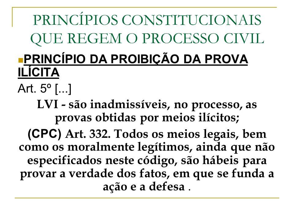 PRINCÍPIOS CONSTITUCIONAIS QUE REGEM O PROCESSO CIVIL PRINCÍPIO DA PROIBIÇÃO DA PROVA ILÍCITA Art. 5º [...] LVI - são inadmissíveis, no processo, as p