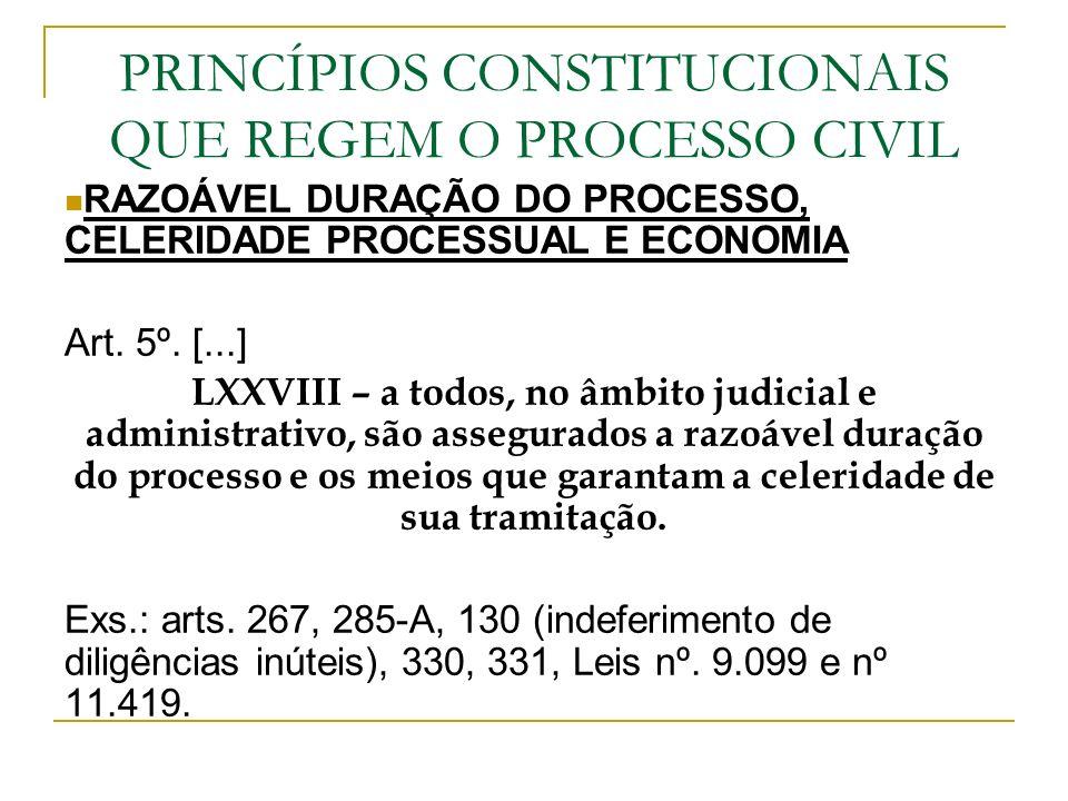 PRINCÍPIOS CONSTITUCIONAIS QUE REGEM O PROCESSO CIVIL RAZOÁVEL DURAÇÃO DO PROCESSO, CELERIDADE PROCESSUAL E ECONOMIA Art. 5º. [...] LXXVIII – a todos,