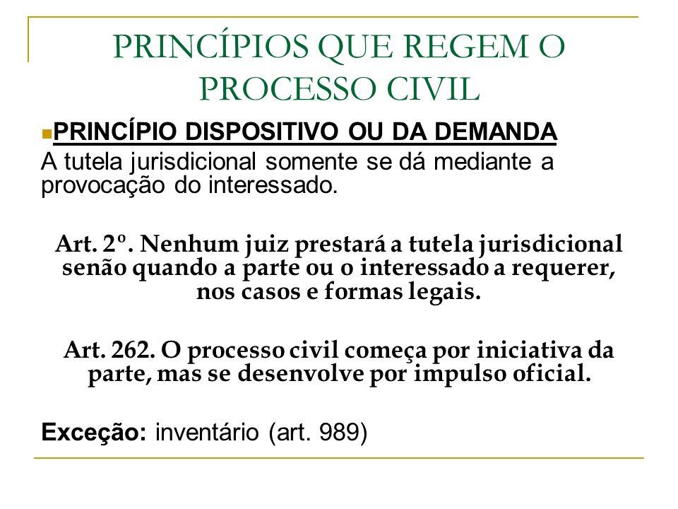 PRINCÍPIOS QUE REGEM O PROCESSO CIVIL PRINCÍPIO DISPOSITIVO OU DA DEMANDA A tutela jurisdicional somente se dá mediante a provocação do interessado. A