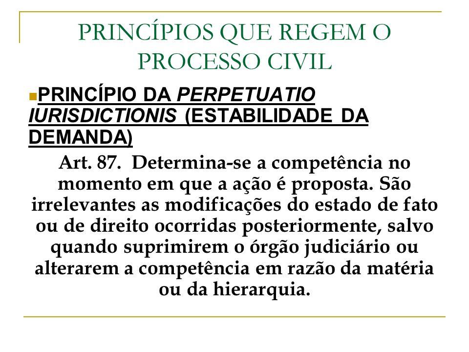 PRINCÍPIOS QUE REGEM O PROCESSO CIVIL PRINCÍPIO DA PERPETUATIO IURISDICTIONIS (ESTABILIDADE DA DEMANDA) Art. 87. Determina-se a competência no momento