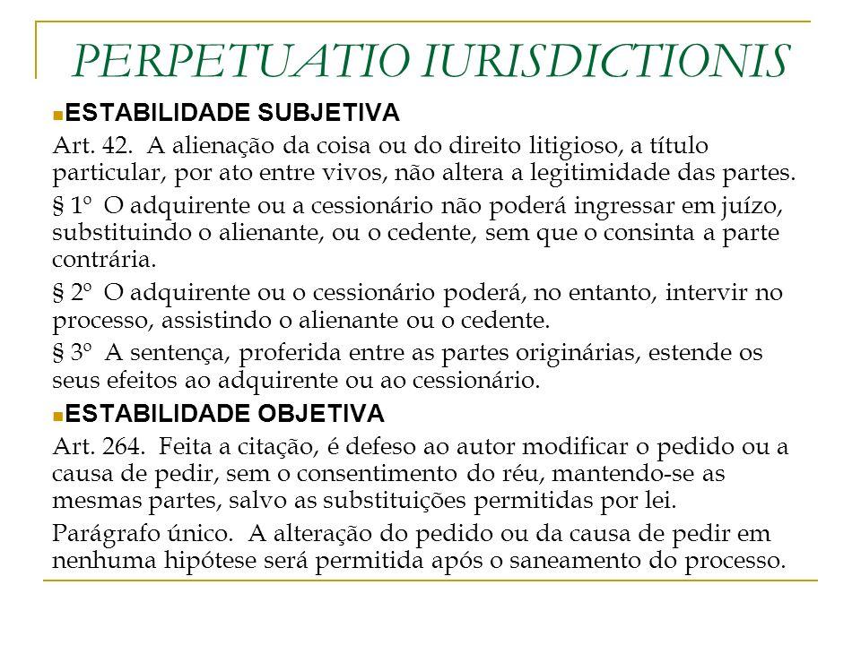 PERPETUATIO IURISDICTIONIS ESTABILIDADE SUBJETIVA Art. 42. A alienação da coisa ou do direito litigioso, a título particular, por ato entre vivos, não