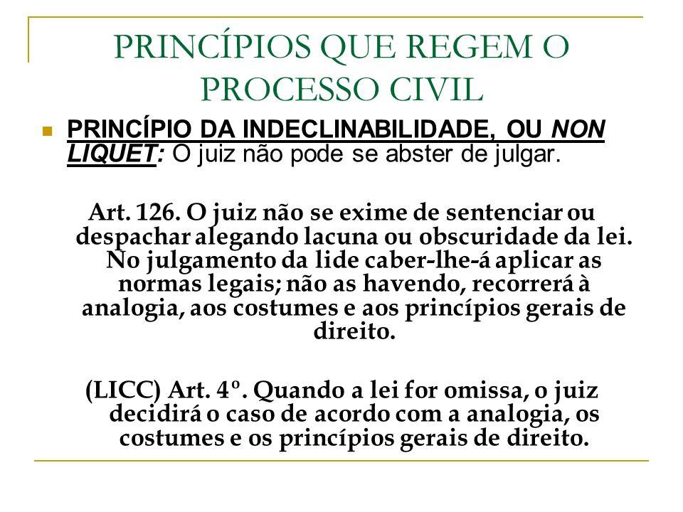 PRINCÍPIOS QUE REGEM O PROCESSO CIVIL PRINCÍPIO DA INDECLINABILIDADE, OU NON LIQUET: O juiz não pode se abster de julgar. Art. 126. O juiz não se exim