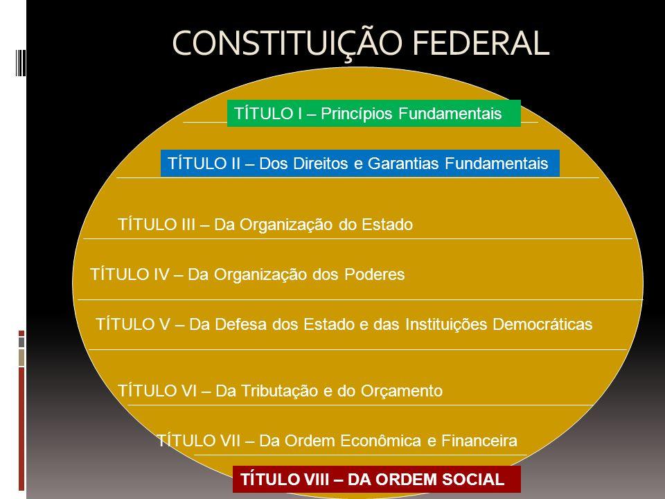 CONSTITUIÇÃO FEDERAL TÍTULO I – Princípios Fundamentais TÍTULO II – Dos Direitos e Garantias Fundamentais TÍTULO III – Da Organização do Estado TÍTULO