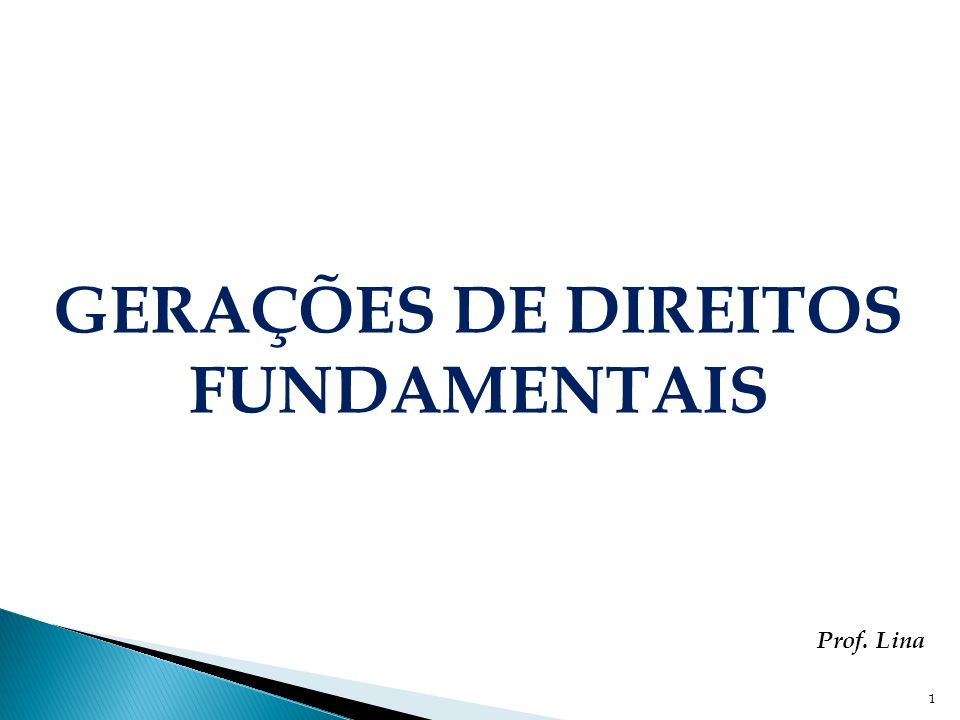 1 GERAÇÕES DE DIREITOS FUNDAMENTAIS Prof. Lina