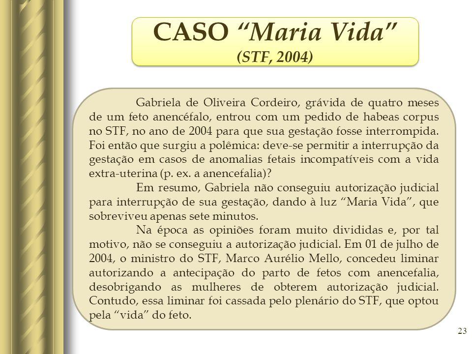 23 CASO Maria Vida (STF, 2004) CASO Maria Vida (STF, 2004) Gabriela de Oliveira Cordeiro, grávida de quatro meses de um feto anencéfalo, entrou com um